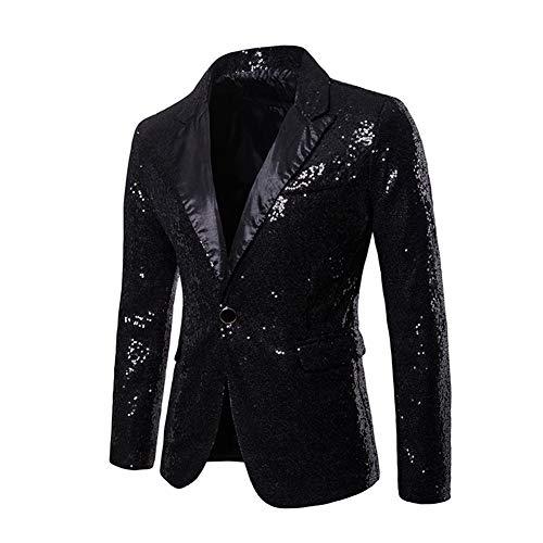 SUVIA Herren Pailletten Sakko Glitzer Smoking Jacke Shiny Pailletten Anzug für Nachtklub, Hochzeit, Partei (Schwarz, L)