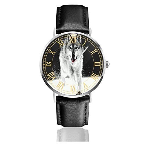 Reloj para Mujer Wolf-Snow- Relojes de Pulsera de Cuarzo de Acero Inoxidable Minimalistas inspiradores con Correa de Cuero
