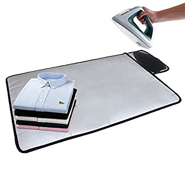 HOMILA Portable Ironing Mat with Silicone Pad,Ironing Blanket Heat Resistant Steaming Mat,19.5  X 28 ,Grey