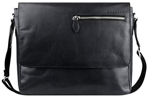 """Bugatti Domus Leder Messenger Bag Umhängetasche für Damen und Herren mit 13"""" Laptopfach, Kuriertasche Schultertasche Herrentasche, Grau"""