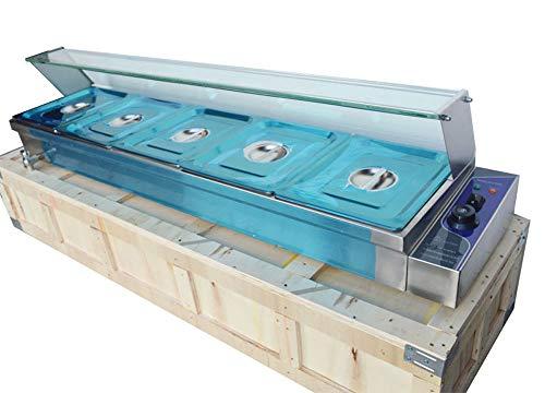 5-Pan Bain-Marie Buffet Food Warmer TECHTONGDA Steam Table With Glass sneeze guard 110V