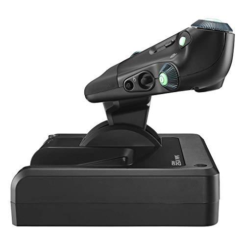 Logitech G Saitek X52 Pro Flight Control System, Schubregler und Stick-Simulationscontroller für Weltraum-Simulationen, LCD-Display, Doppelfederung, Beleuchtete Tasten, 2x USB-Anschluss, PC - schwarz