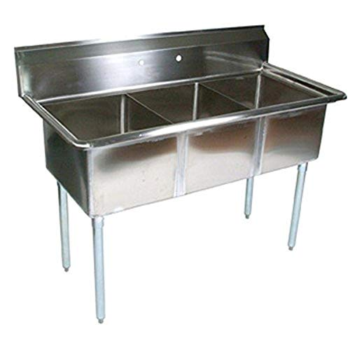 John Boos E Series NSF Certified Stainless Steel Deep Bowl 3 Compartment Sink