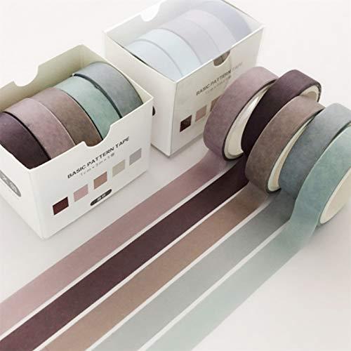 ZYYXB 5 Rolls Washi Klebeband Washi Farbige Masking Tape Kleber dekorative Bänder für Scrapbooking DIY Crafts Japanische Masking Washi Tape Set,Stil 12