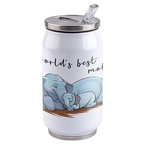 14oz Stainless Steel Tumbler with Lid & Straw-Double Wall Vacuum Insulated Travel Mug,Mother's Day,World's Best Mother, Elephant Mother and Child Water Bottle Coffee Beverage Drinks Cup