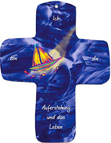 """metalum Premium-Kreuz aus Metall""""Ich bin die Auferstehung und das Leben"""" zum Aufhängen - ein außergewöhnliches christliches Geschenk mit Taube und Regenbogen in intensiven Farben"""