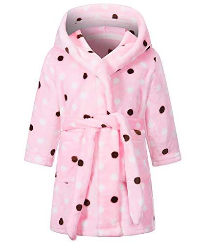 FEOYA Kinder Bademantel mit Kapuze Flanell Langarm für Jungen und Mädchen Nachthemd Robe mit Tasche Rosa Punkt 7-8 Jahren