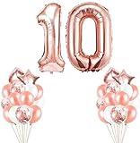 Youngneer Globos Cumpleaños 10 Años Decoración Cumpleaños 10 Niña Fiestas de Cumpleaños Decoracion 10 Años Oro Rosa Globos Numeros 10 Gigantes Helio Globos de 101CM para Niña y Niño
