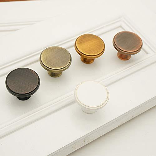 2 pomos de puerta redondos, estilo vintage, con forma de hongo, aleación de zinc, cepillado, para armario, cajón, porcelana, color blanco