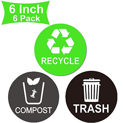 Well Tile Recycle Sticker Trash Bin Label Compost Sign Decal 6 Pack - 6' X 6' Large - Waterproof Organize & Coordinate Garbage Waste from Recycling - for Metal or Plastic Trash Cans (6 inch 6 Pack)