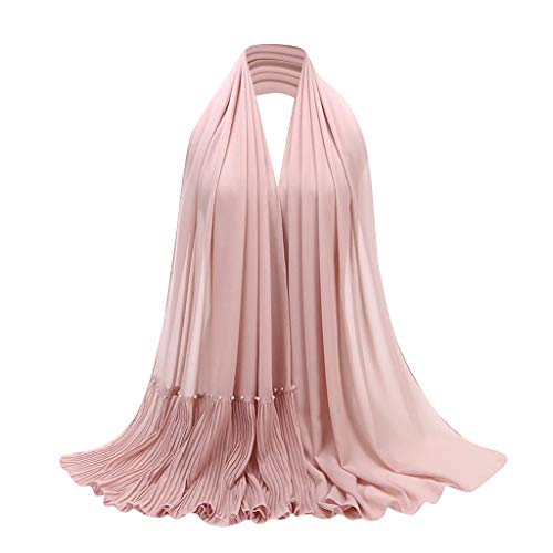 Goldweather Women Crinkle Cloud Hijab Scarf Soft Lightweight Chiffon Muslim Islamic Long Hejab Head Wrap Amira Shawls (Pink)