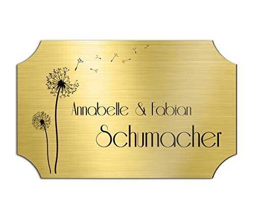 Klingelschild Türschild mit Gravur 9x5,5 cm versch. Farben und Edelstahl oder Messing-Optik selbstklebend Briefkasten-Schild Namensschilder für die Haustür mit Namen und Motiven