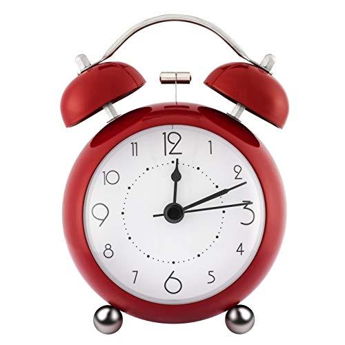 ZOJI Retro Doppelglockenwecker Nachtwecker ohne Ticken,3,34 Zoll runde konvexe Mini Uhr mit Nachtlicht Große Digitalanzeige für Schlafzimmer Büro lauter Alarm Kinder Wecker