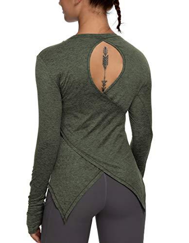 QUEENIEKE Camiseta deportiva de malla de manga larga para correr, para mujer, ajuste entallado