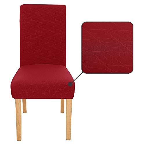Amazon Brand – Umi Funda para Silla Decorativa Suave de Salon con Patrón de Olas 4 Piezas Rojo Oscuro