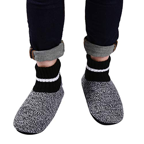 Panda Bros Slipper Socks Soft Cozy Thick House Indoor Boot Sock Shoes with Anti-Skid Bottom Soles for Men's(strips,7-9.5)