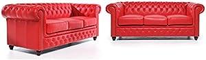 Conjunto Sofás Chester - Rojo - 3/ 3 plazas - Auténtic Chesterfield Brand - Hecho artesanal en cuero natural …