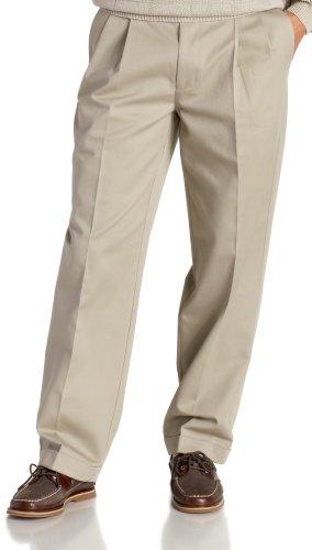 IZOD Men's Big and Tall Pleated Extended Twill Pant, Khaki, 48W x 32L