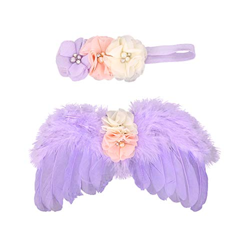 Multifit Baby Angel Feather Wings Newborn Photography Prop Costumes with Flower Headband for Cosplay Halloween Dress Up Purple