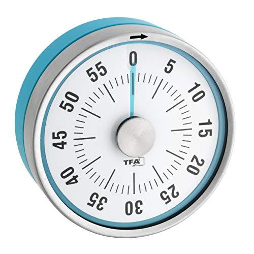 TFA Dostmann Puck Küchentimer, Eieruhr magnetisch, Timer, mit Restzeit-Anzeige, 0-60 Minuten, türkis, 38.1028.20