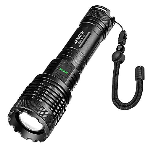 Extrem Hell LED Taschenlampe, Maximale Helligkeit 8000 Lumen, XHP99 LED mit 5 Modi und Lange Arbeitzeit, IP67 Wasserdicht Zoombar, KENSUN Beta VI für Outdoor, Wandern, Camping