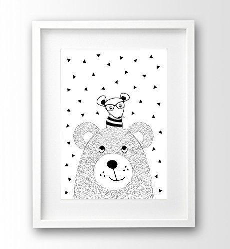 Babyposter ungerahmt A4, Bär und Hipster Maus, schwarz weiß, Tierposter