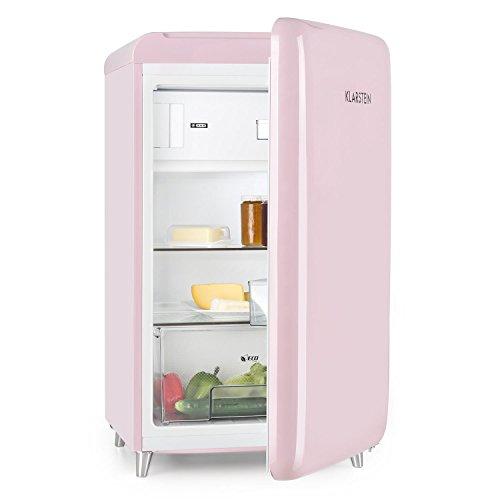 Klarstein PopArt Pink - Kühlschrank, Standkühlschrank, Retro Look der 50er, 108 L Volumen, 13 Liter Gefrierfach, Gemüsefach, 2 x Regal, Flaschenfach, Eierablage, Türanschlag rechts, pink