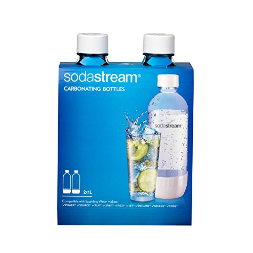 SodaStream 1042211010 Carbonating Bottle, 1 liter, White (Pack of 2)