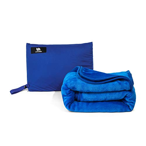 Leisime 4 in 1 Portable Travel Blanket.The Latest Compact Airplane Blanket. with Pocket and Built-in Bag - Compact Pack Large Blanket for Any Travel (Blue)
