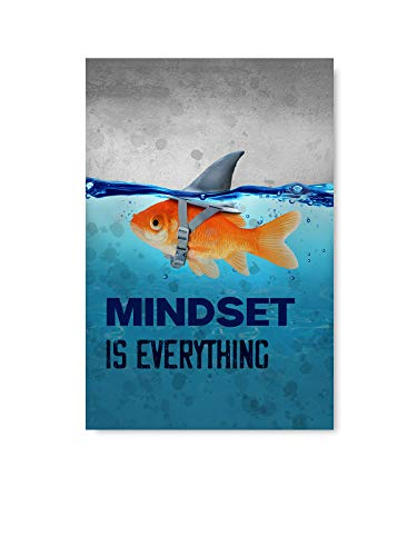 Cute Fish Illustration Inspirational Poster Mindset is Everything Poster Art Motivational Art Unframed Office Decor Printed Art Picture Mindset is Everything Fish 8' x 12'