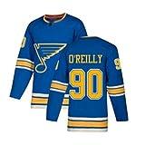 ZRHXN St. Louis Blues # 90 O'Reilly Hockey Hockey Jerseys Camiseta de Manga Larga Tiradoras Sweatshirts S-XXXL,XL