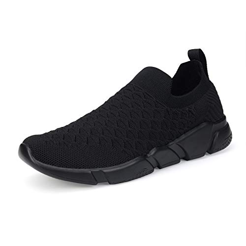WXQ Men's Running Lightweight Breathable Casual Sports Shoes Fashion Sneakers Walking Shoes All Black 43