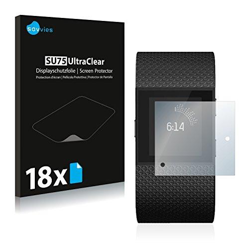 Savvies 18x Schutzfolie kompatibel mit Fitbit Surge Bildschirmschutz-Folie Ultra-transparent
