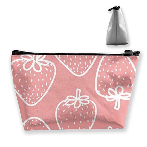 Multi-Functional Print Trapezoidal Storage Bag for Female Strawberry Gift Wrap Design