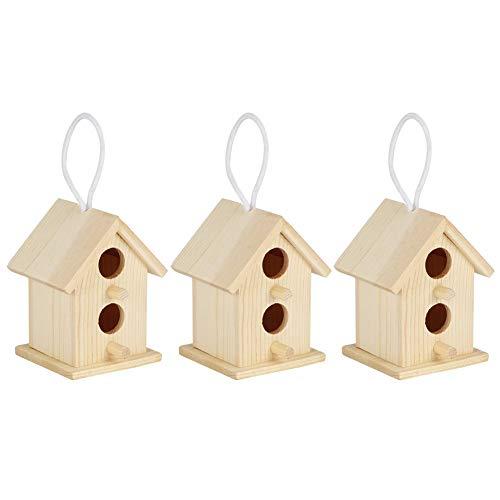 HERCHR Casas de pájaros de 3 Piezas para Pintar, Jaula de pájaros Colgante de Madera para jardín Exterior