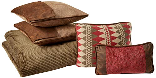 HiEnd Accents Wilderness Ridge Rustic Lodge Corduroy Stripe Bedding Set, Queen, Olive, Brown & Red 6 PC