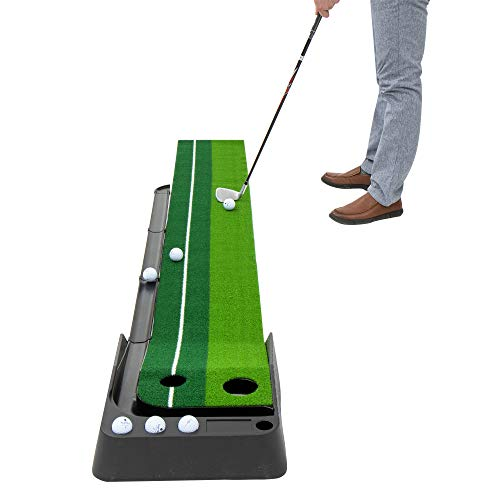 Indoor Golf Putting Green – Mini Golf Practice Mat with Automatic Ball Return, Portable Alignment Training Aid, Game and Gift for Home, Office, Outdoor Use - 6 Bonus Balls