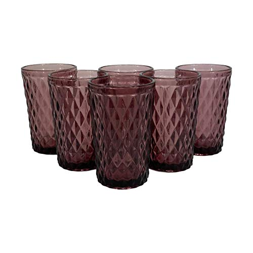 Homevibes Juego de 6 Vasos De Agua con Relieve, Set de 6 Vasos, Capacidad 350ml, Diseño Retro, Medidas 8x12.5, Cristaleria De Calidad (Purpura)