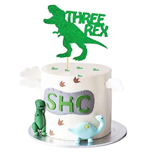 Unimall Global 1 paquete de 3 adornos para tarta de 3 dinosaurios Rex con...