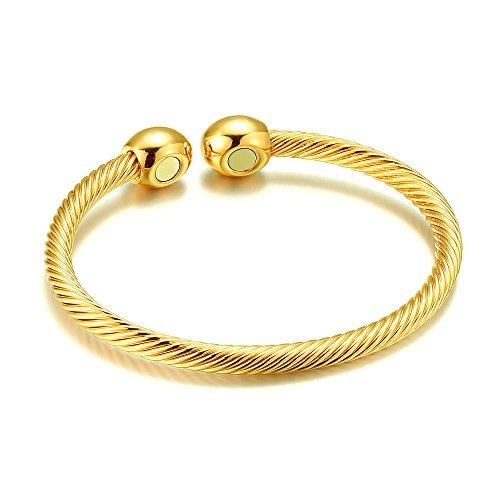 Braccialetti magnetici per donne e uomini, magneti per terapia contro l'artrite, sollievo dal dolore, braccialetto di rame argento/oro/oro rosa e Rame, colore: Gold, cod. B002