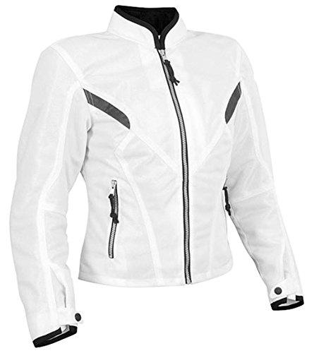 Bangla Damen Motorradjacke Touren Jacke Textil B-03 Weiss XXXL