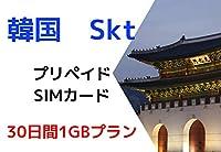 [Skt 韓国」 韓国専用 データ定額 高速4G プリペイドSIMカード (30日間1GB)