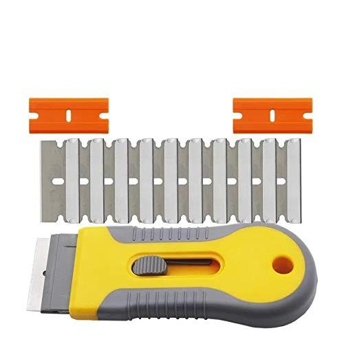 Herramienta raspadora de afeitar duradera, cuchillo raspador de seguridad retráctil para horno de cerámica de vidrio adhesivo que quita la limpieza (C SET)