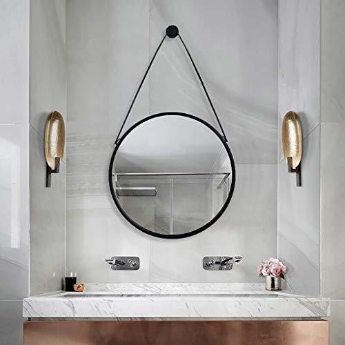 Make-up spiegel make-up spiegel make-up spiegel retro metaal wandbehang badkamerspiegel met lederen riem, ronde wandbadkamerspiegel, make-up spiegel, badkamer decoratief (40CM, 50CM, 60CM, 70CM, 80 Diameter 40CM zwart