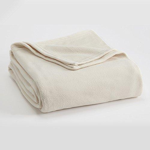 FLEECE BLANKET BY VELLUX - Twin, Microfiber, Polar fleece, Lightweight, Warm, Soft - Winter White