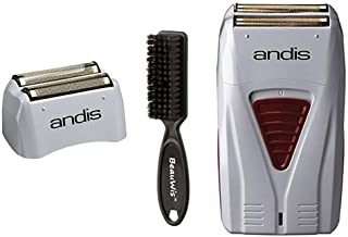 Andis Cordless Men's Long Lasting Lithium Battery Titanium Foil Shaver Bundled with Replacement Foil Assembly and a BeauWis Brush