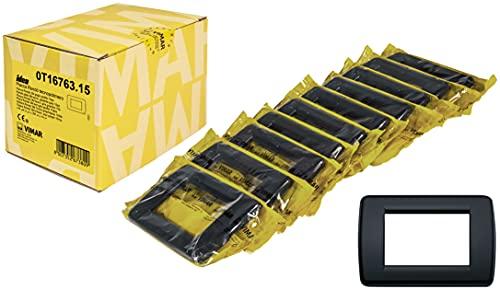Vimar Idea 0T16763.15 Placca Rondò 3 moduli in tecnopolimero, 10 pezzi, grigio grafite