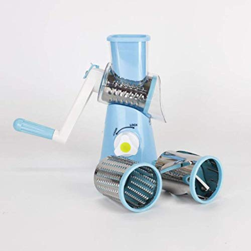FEE-ZC 3 in 1 veiligheid Rotary Cheese Slicer, rasp Chopper Mandoline roestvrij staal handsnijder groenterasp Powerful Sucker multifunctioneel, blauw