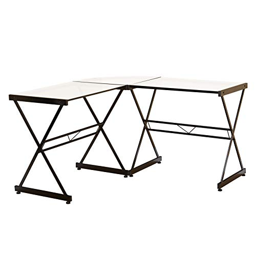 """Target Marketing Systems Atrium Computer Tempered Glass Metal Frame Home Office Gaming L-Shaped Writing Study Desk, 51"""", Clear"""