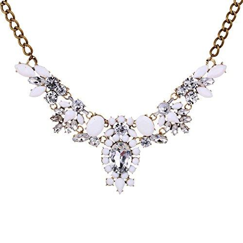Yazilind Europäische wunderschöne Gold überzogenen weißen Strasshalsband Lätzchen Temperament Halskette